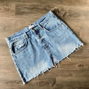 Forever 21 Frayed Raw Hem Denim Skirt Sz 29   *I18